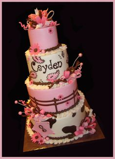 Cowgirl/Western theme cake - Everything is edible and hand-painted/airbrushed on this cake. Western Birthday Cakes, Western Cakes, Cowgirl Birthday, Western Theme, Cowgirl Cakes, Cowgirl Party, Beautiful Cakes, Amazing Cakes, Farm Cake
