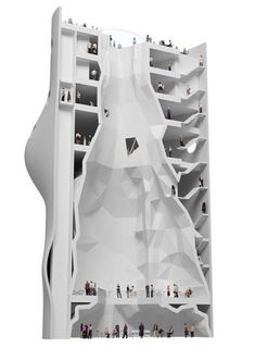 NL Architects – Concept for The Silo Competition to transform the structure of an old sewage treatment silo into a rock climbing facility and mixed-use residential and commercial spaces.