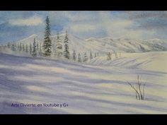 Cómo pintar nieve en acuarela - Montañas nevadas - How to Paint Snow in Watercolor