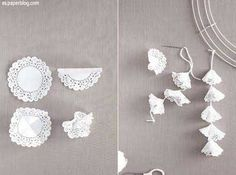 See more about paper doily crafts, paper doilies and doilies crafts. Paper Doily Crafts, Doilies Crafts, Paper Doilies, Easy Paper Crafts, Diy Paper, Paper Crafting, Diy And Crafts, Doily Garland, Doily Bunting