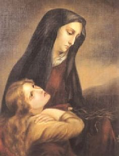 The Blessed Virgin Mary consoles Mary Magdalene