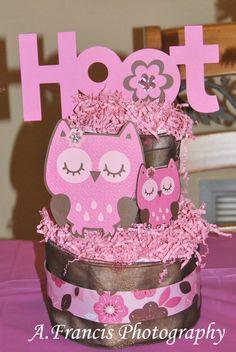 Owl Two Tier Diaper Cake