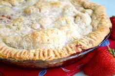 This strawberry pie is so perfect for a summer gathering! The crust is buttery and flaky with the most amazing, flavorful filling.