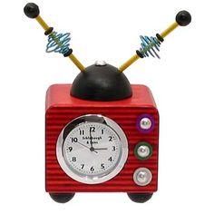 Red Wood TV Mini Clock