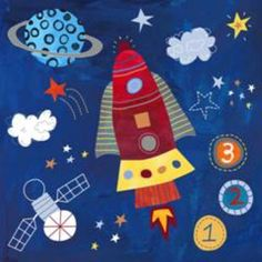 Oopsy Daisy too Blast Off! Rocket wall art for outer space room Art Wall Kids, Art For Kids, Rockets For Kids, 3rd Grade Art, Arts Ed, Space Theme, Inspirational Wall Art, Space Crafts, Classroom Themes