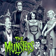 """The Munsters"" (Universal International, Fred Gwynn as Herman Munster, Yvonne De Carlo as Lily Munster, Al Lewis as Grandpa, Beverly Owen and Pat Priest as Marilyn Munster and Butch Patrick as Eddie Munster Munsters Tv Show, The Munsters, Munsters House, Horror Posters, Horror Icons, La Familia Munster, Yvonne De Carlo, Classic Monsters, Cult Movies"
