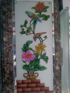 Flower Pot Design For Glass Glass Painting Designs, Paint Designs, Window Glass Design, Pooja Room Door Design, Flower Pot Design, Black Silhouette, Folk Embroidery, Front Elevation, Mirror Door