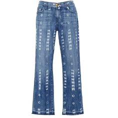 Current/Elliott The Cropped Destroyed Pattern Straight Jeans ($248) ❤ liked on Polyvore featuring jeans, print jeans, destroyed cropped jeans, cropped jeans, distressing jeans and destroyed jeans