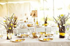 Furniture, Twig Table Decorations Yellow Ribbon: Interesting Twig Table Decorations