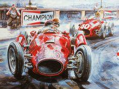 Vintage Cars and Racing Scene, Automotive Art of Vaclav Zapadlik  - Vintage Car Racing Scene , Vintage Car Art Paintings