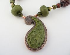 Faux Jade  Paisley Polymer Clay Necklace with matching Earrings