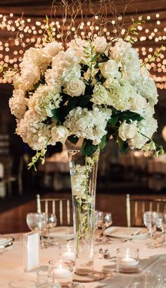 Tall white Wedding Centerpiece - Esvy Photography