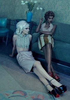 Grace Mahary and Sophia Ahrens for Vogue Germany April 2015 by Emma Summerton - Miu Miu Spring 2015