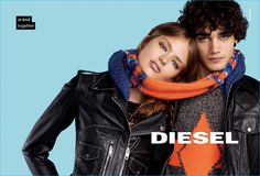 Models Anna Mila and Miles Frank a scarf in a charming image from Diesel's fall-winter 2016 campaign.