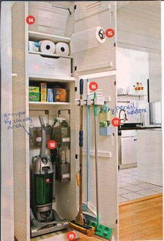 Cleaning closet [really old scan] Kitchen Cabinet Colors, Kitchen Redo, Kitchen Colors, Kitchen Remodel, Kitchen Cabinets, Laundry Cupboard, Laundry Area, Laundry Rooms, Small Space Interior Design