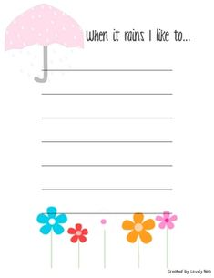 You are getting:-a spring writing template-when it rains I like to... writing prompt-I see, smell, taste, hear in the Spring...writing templa...