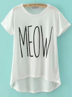 White Short Sleeve MEOW Print T-Shirt