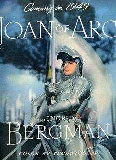 joan of arc 1948 ingrid bergman Joan Of Arc Film, Joan D Arc, Jeanne D'arc, Ingrid Bergman, Oscar, Vintage Hollywood, Film Posters, Great Movies, Inktober