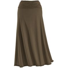 Coffee Ruched Maxi Skirt - New Age & Spiritual Gifts at Pyramid... ❤ liked on Polyvore