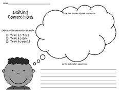 {freebie} this is a great graphic organizer for making connections! Text Connections, Making Connections, Reading Activities, Teaching Reading, Graphic Organisers, Text To Self Connection, Text To World, Thinking Strategies, Reading Comprehension Strategies