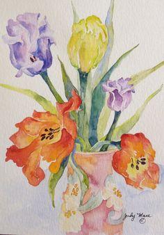 Handpainted tulips watercolor greeting card by DakotaPrairieStudio, $24.00