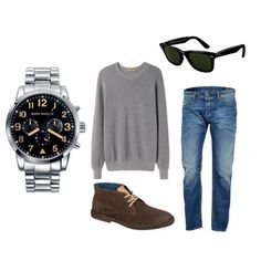 Look for men para los días de otoño, combinado con reloj multifunción con esfera en negro e índices marrones. Aviation, Polyvore, Image, Fashion, Clock, Black, Moda, La Mode, Air Ride