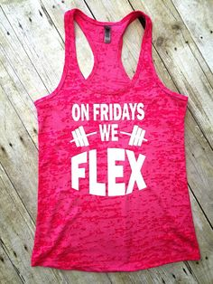On Fridays We Flex Tank Top, Workout Clothes, Gym Tank Top, Fitness Apparel, Flex Shirts, Crossfit Tank Tops, Running Shirts, FitPink