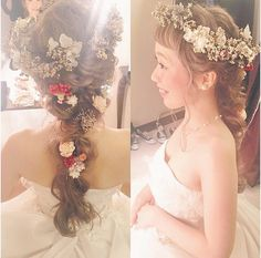 Bridal Looks, Bridal Style, Flower Makeup, Hair Arrange, Japanese Hairstyle, Hair Vine, Hair Designs, Wedding Makeup, Bridal Hair