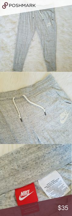 NWOT Nike cotton crop joggers Cropped light gray cotton jogger sweat pants. Super soft, never worn - just sat in my closet! Nike Pants