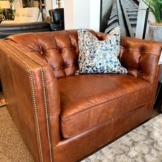 The Lauren is dressed to impress!  Nail heads, tufting, rich leather and texture! #sofaland #madeincanada #customfurniture #shoplocal #supportlocal #yeg #yyc #shpk