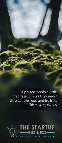 A person needs a little madness, or else they never dare cut the rope and be free.  -Nikos Kazantzakis #TheStartupBusiness #inspire