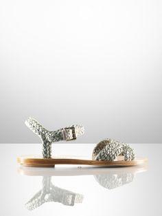 Maralyn Raffia Flat Sandal - Ralph Lauren Collection Collection Shoes - RalphLauren.com
