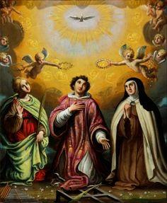 """35005863. Escuela mexicana del siglo XVII. """"Santa Cecilia, san Lorenzo y santa Teresa de Jesús"""". Óleo sobre cobre. Medidas: 28,5 x 23 cm; 41,5 x 37 cm (marco)."""