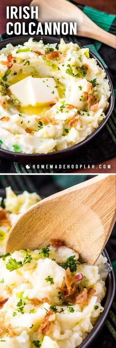 Irish Colcannon All mashed potato fans are bound to love this traditional Irish side dish With tender cooked cabbage mixed with creamy potatoes and topped with crispy crumbled bacon colcannon is the perfect side dish for any Irish cuisine Potato Dishes, Food Dishes, Potato Bar, Food Food, Vegetable Side Dishes, Vegetable Recipes, Side Dishes For Steak, Colcannon Recipe, Colcannon Potatoes