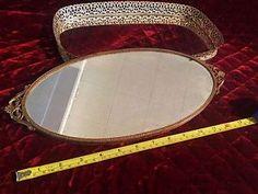 PAIR Vintage Mirrored Vanity Tray Ornate Beautifully Detailed Lot of 2