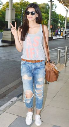 Kriti Sanon spotted at the Mumbai airport. #Bollywood #Fashion #Style #Beauty #Hot #Sexy