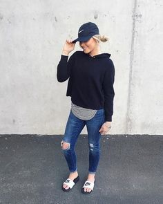 Too cozy right now!! Distressed denim, comfy sweatshirt layered with a long tee, and this cute @nike hat Matt got me yesterday - had to pair this look with my favorites slides!! I've linked everything up with @liketoknow.it . Next stop: Chipotle. What're your Saturday night plans?! http://liketk.it/2qY9w #liketkit . . . . . #bresheppard #fashionblogger #fashion #igstyle #instagood #outfitideas #ootd #follow #fashionblog #follow #blogger #goals #asseenonme #peoplescreative #thatsdarling…