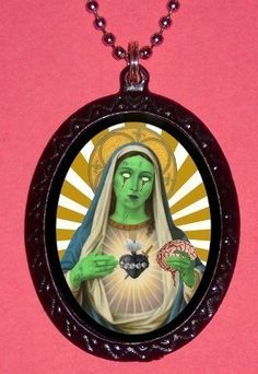 Zombie Virgin Mary Psychobilly Necklace New Gothic Goth Pop Art Kitsch. $7.00, via Etsy.
