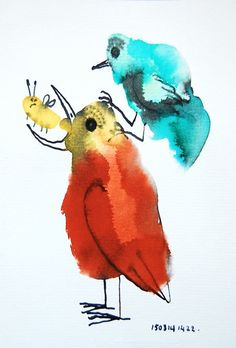 Colourful drawing | Bird illustration | Two birds | Pen and ink | Childrens art