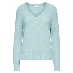Wool Blend Minty Knit Jumper ($92) ❤ liked on Polyvore featuring tops, sweaters, knit sweater, striped v neck sweater, v neck knit sweater, striped knit sweater and pastel blue sweater