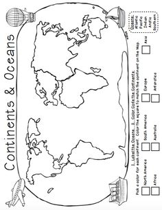 Continents and Oceans Geography Research Book, Study Cards