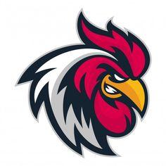 Rooster head sport Premium Vector