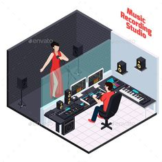 Buy Vocal Recording Isometric Composition by macrovector on GraphicRiver. Music recording studio equipment isometric composition with view of professional studio interior female vocalist and . Home Recording Studio Setup, Recording Studio Equipment, Home Studio Setup, Music Studio Room, Sound Studio, Studio Room Design, Studio Layout, Studio Interior, Mode Hip Hop