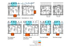 One Bedroom Apartment, Two Bedroom, Floor Plans, Cottage, Cottages, Cabin, Floor Plan Drawing, House Floor Plans, Cabins