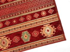 New Heavyweight Mexican Kilim Pattern In Green Red Chenille Upholstery Fabrics