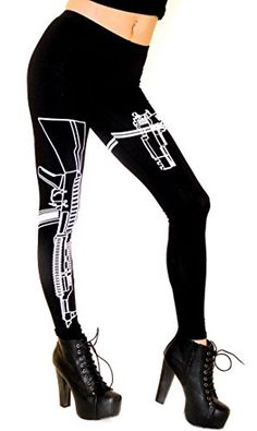 Guns Out Machine Gun Workout Leggings in Black, Made in USA (Plus Sizes Available XL, XXL, XXXL) *** Click image for more details.