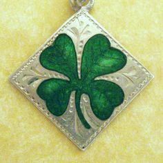 GERMAN SILVER ENAMEL ENGRAVED LUCKY CLOVER CHARM