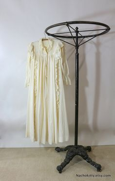 1890s Wedding Night Nightgown, Antique Handmade Lingerie, Fine Lace & Cotton Gown