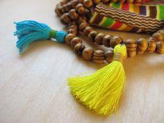 Bright Yellow Tassel Necklace Boho Wooden Bead Jewelry Neon Yellow Tassel 108 Bead Mala Meditation Prayer Yoga Beads Summer Style / Sale!