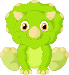 Cute light-green baby triceratops cartoon sitting on white background